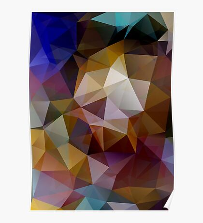 Abstract background of triangles, polygon wallpaper in retro bright colors. Poster