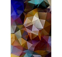 Abstract background of triangles, polygon wallpaper in retro bright colors. Photographic Print