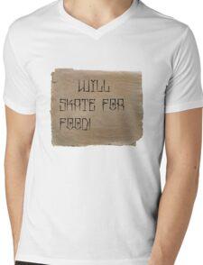 Will Skate for Food Mens V-Neck T-Shirt
