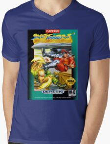Street Fighter II Sega Cartridge Mens V-Neck T-Shirt