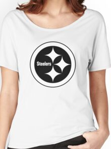 PITTSBURGH STEELERS BLACK AND WHITE Women's Relaxed Fit T-Shirt