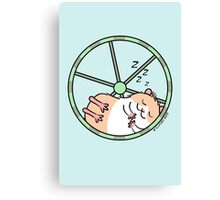 Hamster Sleeping in Exercise Wheel Canvas Print
