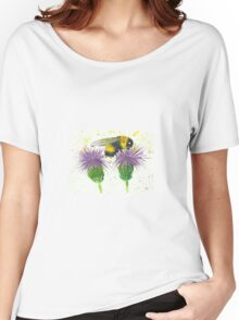 Bumble bee sitting a two thistles Women's Relaxed Fit T-Shirt