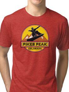 SNOWBOARD PIKES PEAK COLORADO Skiing Ski Mountain Mountains Snowboarding Tri-blend T-Shirt