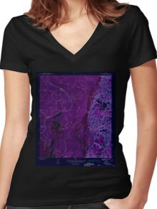 USGS TOPO Map Alabama AL Hurricane 305613 1943 31680 Inverted Women's Fitted V-Neck T-Shirt