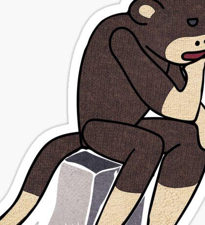 Sock Monkey Thinking Sticker