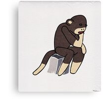 Sock Monkey Thinking Canvas Print