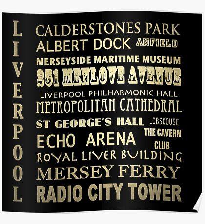 Liverpool Famous Landmarks Poster