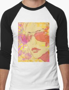 Pop Art portrait in yellow and pink Men's Baseball ¾ T-Shirt