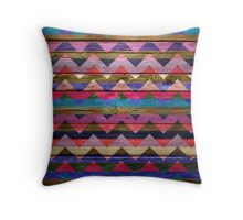 Colorful Chevron Pattern on Wood Texture Throw Pillow