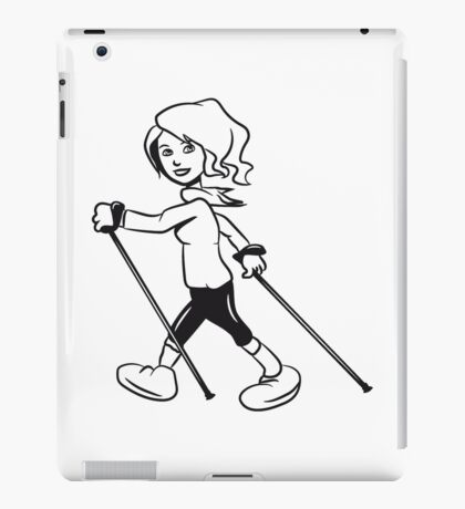 nordic walking woman fun sport iPad Case/Skin