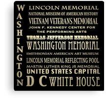 Washington DC Famous Landmarks Canvas Print