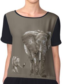 Swirly Elephant Family Chiffon Top