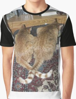Kittens Eating with Tails Crossed Graphic T-Shirt