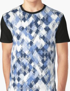 Blue White Harlequin Abstract Graphic T-Shirt