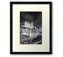 somewhere abandoned black and white Framed Print