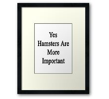 Yes Hamsters Are More Important Framed Print