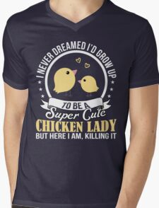 Super Cute Chicken Lady Mens V-Neck T-Shirt