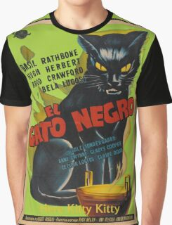 Black Cat Retro Vintage Movie  Graphic T-Shirt