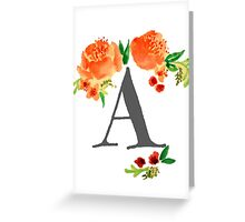 Monogram Floral A Greeting Card