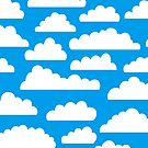 Fluffy Clouds Pattern - White on Blue 009dea by Artberry