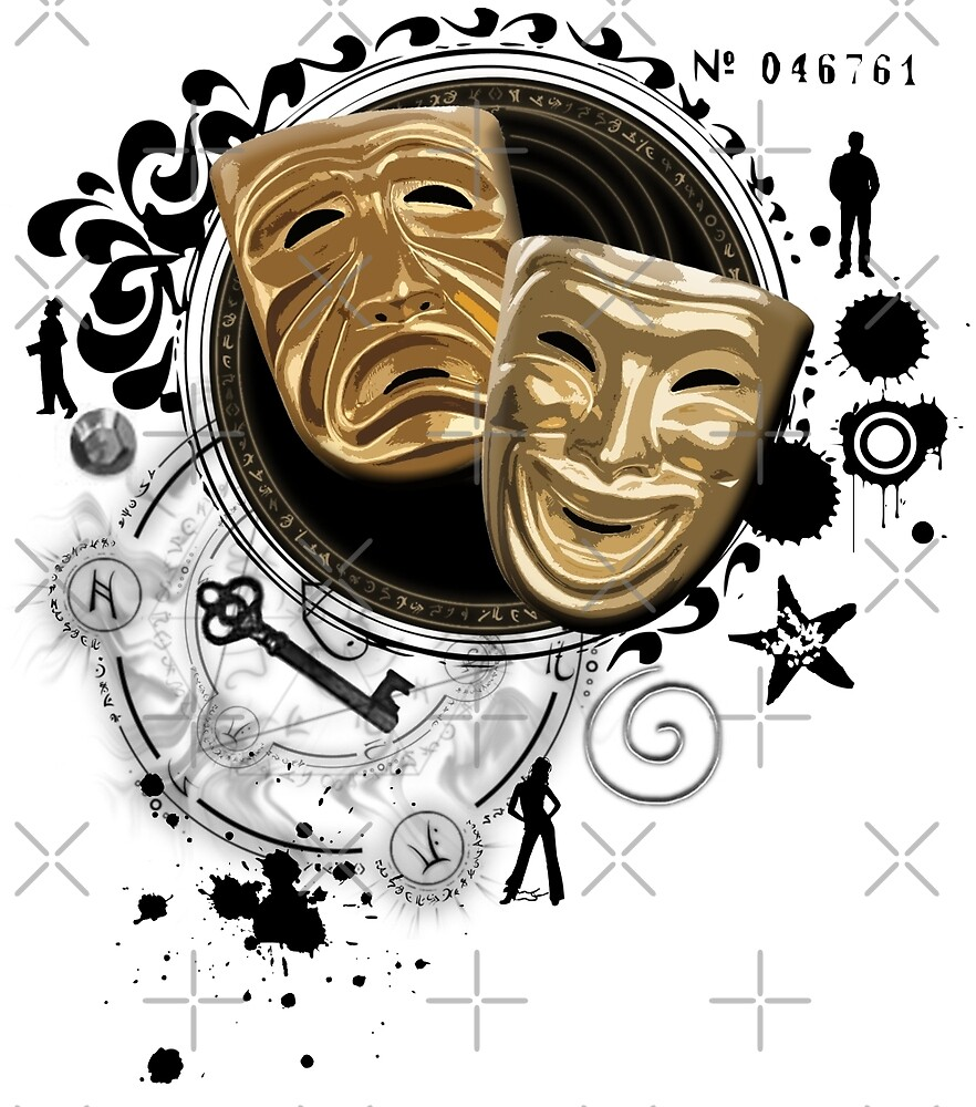Gold Drama Masks by Sally McLean