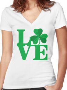 Shamrock Love Women's Fitted V-Neck T-Shirt