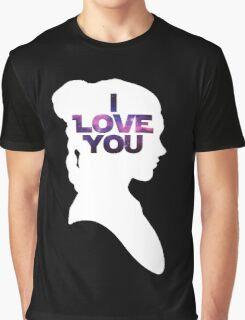 Star Wars Leia 'I Love You' White Silhouette Couple Tee Graphic T-Shirt