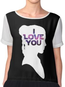 Star Wars Leia 'I Love You' White Silhouette Couple Tee Chiffon Top