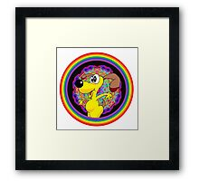Rainbow Ring and Silly Looking Dog Framed Print
