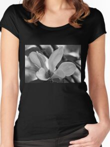 Magnolia Bloom Black And White Women's Fitted Scoop T-Shirt