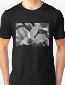 Magnolia Bloom Black And White Unisex T-Shirt