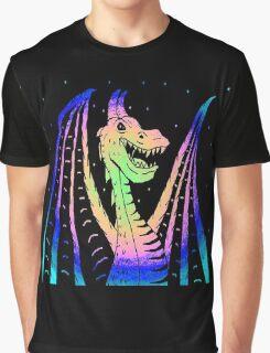 Rainbow Neon Dragon Inverted Graphic T-Shirt