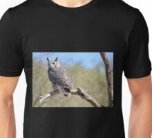 Great Horned Owl on a Branch Unisex T-Shirt