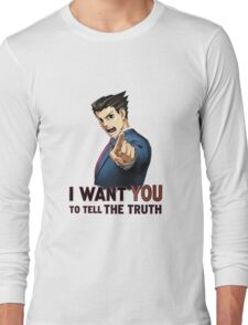 Phoenix Wright Wants YOU to Tell the Truth (transparent) Long Sleeve T-Shirt