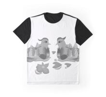 Great Crested Grebe in Black & White Graphic T-Shirt
