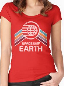 Vintage Spaceship Earth with Distressed Logo in Retro Style Women's Fitted Scoop T-Shirt