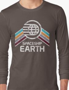 Vintage Spaceship Earth with Distressed Logo in Retro Style Long Sleeve T-Shirt