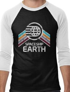 Vintage Spaceship Earth with Distressed Logo in Retro Style Men's Baseball ¾ T-Shirt