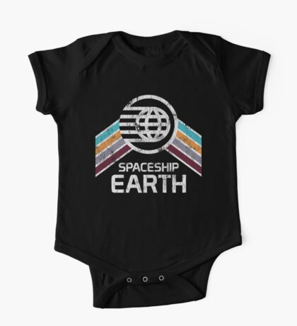 Vintage Spaceship Earth with Distressed Logo in Retro Style One Piece - Short Sleeve