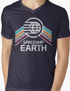 Vintage Spaceship Earth with Distressed Logo in Retro Style Mens V-Neck T-Shirt