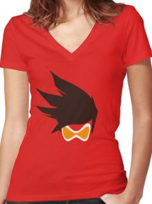 Tracer Hair and Goggles Vector Women's Fitted V-Neck T-Shirt