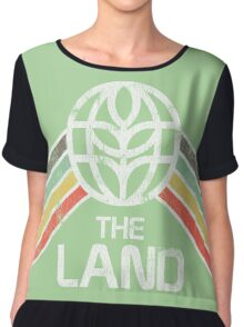 The Land Logo Distressed in Vintage Retro Style Chiffon Top