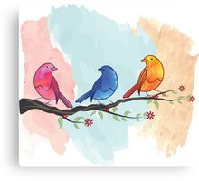 Watercolor birds Canvas Print