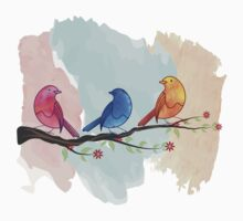 Watercolor birds Baby Tee