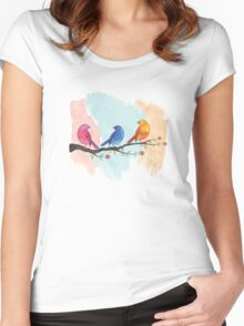 Watercolor birds Women's Fitted Scoop T-Shirt