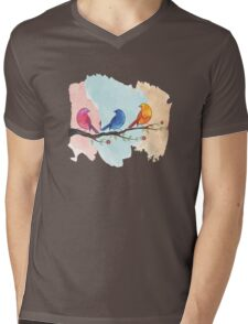 Watercolor birds Mens V-Neck T-Shirt
