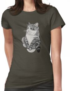 Fat Cat in a Pokeball Womens Fitted T-Shirt