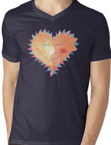 Love Heart Smiling Mens V-Neck T-Shirt