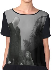 Slender Man with little girl Chiffon Top
